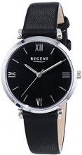 Regent 12111130 - Orologio da polso da donna, cinturino in pelle colore nero