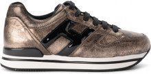 Sneaker Hogan H222 in pelle oro pallido e vernice nera