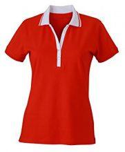 James & Nicholson Ladies´ Elastic Polo Short-Sleeved, Donna, Rosso Tomato/White, 48 (Taglia Produttore: XX-Large)