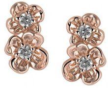Orphelia–Orecchini da donna in argento 925rodiato con zirconi bianchi taglio rotondo–zo ral-6018, argento, colore: rose gold, cod. ZO-6018/1