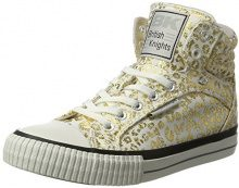 British Knights Dee, Sneaker Donna, Bianco (off White/Gold Leopard 21), 37 EU
