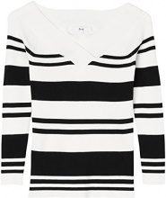 FIND Striped Ribbed Bardot  Felpa Donna, Nero (Black/white), 52 (Taglia Produttore: XXX-Large)