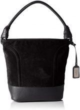 Buffalo Bag W15-089 Imi Suede Pu - Borse a secchiello Donna, Schwarz (Black 19), 28x32x17 cm (B x H T)