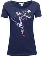 ESPRIT 088ee1k014, T-Shirt Donna, Blu (Navy 400), Small