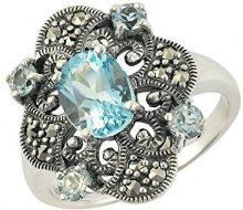 Esse Marcasite-Anello in argento Sterling, con topazio blu e Marcasite-Anello da donna stile edoardiano, 10 7/8