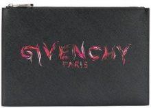 - Givenchy - printed logo clutch - women - Polyester/cotone/Polyurethane - Taglia Unica - di colore nero
