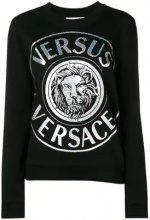 - Versus - Felpa con logo metallizzato stampato - women - cotone - S - di colore nero