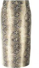 - John Galliano Vintage - snakeskin print fitted skirt - women - seta/fibra sintetica/lanafibra sintetica - 38 - color marrone