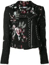 - Liu Jo - floral tweed biker jacket - women - fibra sintetica - 40, 42 - di colore nero
