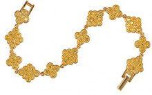 Cristalina braccialetto con cristalli Swarovski dorati, con design arabesco, placcato in oro, lunghezza 20 cm