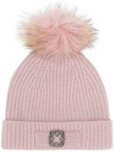 - Max & Moi - Berretto con pompon - women - lana merino/cashmere/pelliccia di procione - Taglia Unica - di colore rosa