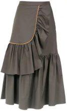 - Adriana Degreas - ruffled midi skirt - women - fibra sintetica/cotone - M - di colore verde