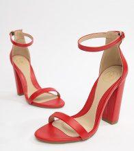 Sandali effetto nudo rossi con tacco largo