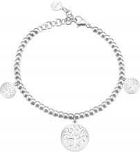Bracciale charms albero della vita in acciaio rodiato e cristalli per Donna