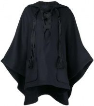 - Semicouture - hooded cape - women - lana vergine/fibra sintetica - S - di colore blu