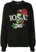 - Dolce & Gabbana - Felpa con rose - women - cotone - 42 - di colore nero