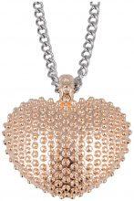 Collana Pendente Cuore Borchiato Finitura Oro Rosa