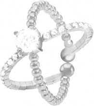 Anello in metallo rodiato e cristalli per Donna
