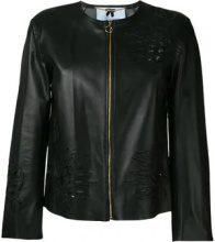 - Blumarine - floral embroidered jacket - women - pelle - 42 - di colore nero
