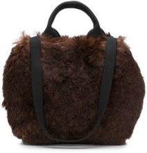 - Muun - mini Ice tote - women - pelle/shearling/cotone - Taglia Unica - color marrone