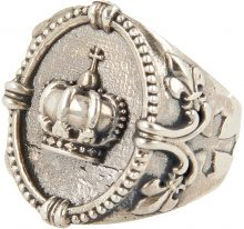 Anello Argento 925 Corona King In Cornice Ovale