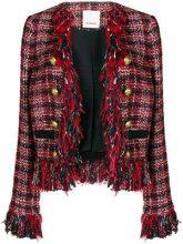 - Pinko - frayed boucle jacket - women - acrilico/fibra sintetica/fibra sinteticacotone - 46, 42, 44 - di colore rosso