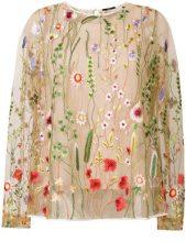 - Odeeh - Blusa trasparente con ricamo floreale - women - fibra sintetica/cotone - 36 - color carne