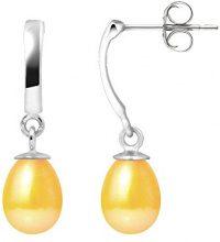 Pearls Colors &-Orecchini pendenti, in oro bianco 9 kt, con perla d'acqua dolce, AM-9BOC 136 P6B-GO