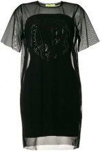 - Versace Jeans - sheer - panel shift dress - women - fibra sintetica - 44 - di colore nero