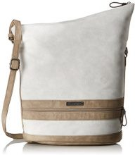 Tamaris Smirne Hobo Bag - Borse a tracolla Donna, Weiß (Off White Comb), 33x15x28 cm (B x H T)