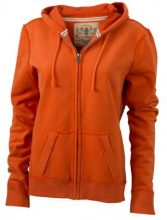 James & Nicholson - Kapuzenjacke Ladies' Vintage Hooded Sweatshirt, Giacca Donna, Arancione (dark-orange), Medium (Taglia Produttore: Medium)