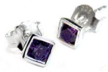 GOLDMAJOR-Pendente quadrato in argento Sterling e Zirconia cubica viola e orecchini a lobo