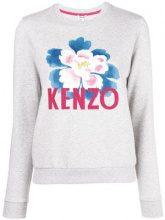 - Kenzo - floral motif sweatshirt - women - cotone/fibra sintetica - M, L - di colore grigio