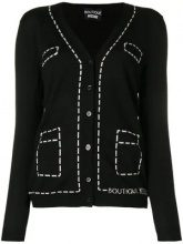 - Boutique Moschino - trompe l'oeil overstitched cardigan - women - lana vergine - 42 - di colore nero