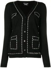 - Boutique Moschino - trompe l'oeil overstitched cardigan - women - lana vergine - 46, 48, 42, 44 - di colore nero