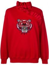 - Kenzo - ruffled tiger embroidery sweatshirt - women - cotone - XS - di colore rosso