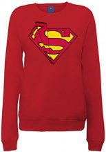 DC Comics Official Superman Shards Logo Womens Sweatshirt, Lungo Donna, Rosso(Cherry Red), Taglia Produttore: 42