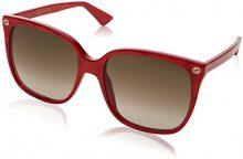 Gucci GG0022S 006, Occhiali da Sole Donna, Rosso (Red/Brown), 57