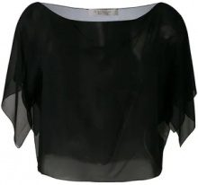 - D.Exterior - sheer cropped blouse - women - seta - L, M - di colore nero