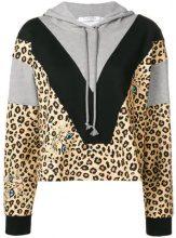- Vivetta - contrasting panel hoodie - women - cotone/fibra sintetica - 36 - color marrone
