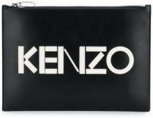 - Kenzo - front logo clutch bag - women - cotone/pelle - Taglia Unica - di colore nero