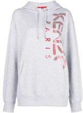 - Kenzo - logo print hoodie - women - cotone - L, XS, S - di colore grigio