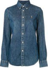 - Polo Ralph Lauren - logo embroidered denim shirt - women - cotone - L - di colore blu