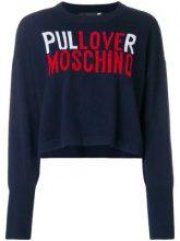 - Love Moschino - Maglione crop con logo - women - lana/cashmere - 42, 44, 38, 40 - di colore blu