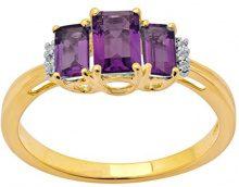 Jewelili Donna 9 carati oro giallo smeraldo viola Ametista Topazio FASHIONRING