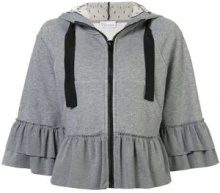 - Red Valentino - ruffled zipped hoodie - women - cotone - M, XS, S - di colore grigio