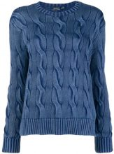 - Polo Ralph Lauren - longsleeved knitted top - women - cotone - S - di colore blu