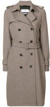 - Closed - houndstooth trench coat - women - fibra sintetica - XS, L, M - color carne