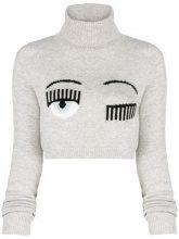 - Chiara Ferragni - Maglione crop con logo - women - lana merino - XS - di colore grigio