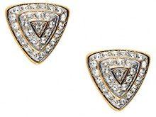 Cristalina–Collana placcata oro 18K con cristallo retro triangolo piramide orecchini a clip